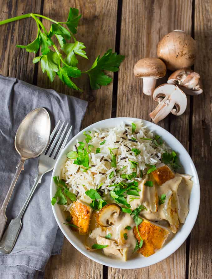 Chicken a la King - leftover chicken cooked with mushroom and onion in a creamy sauce
