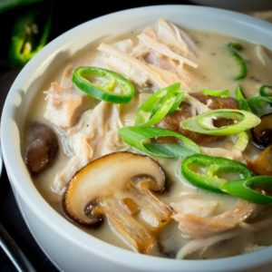 Creamy Chicken, Mushroom and Green Chilli Soup - Don't waste those chicken bones - Turn them into this!