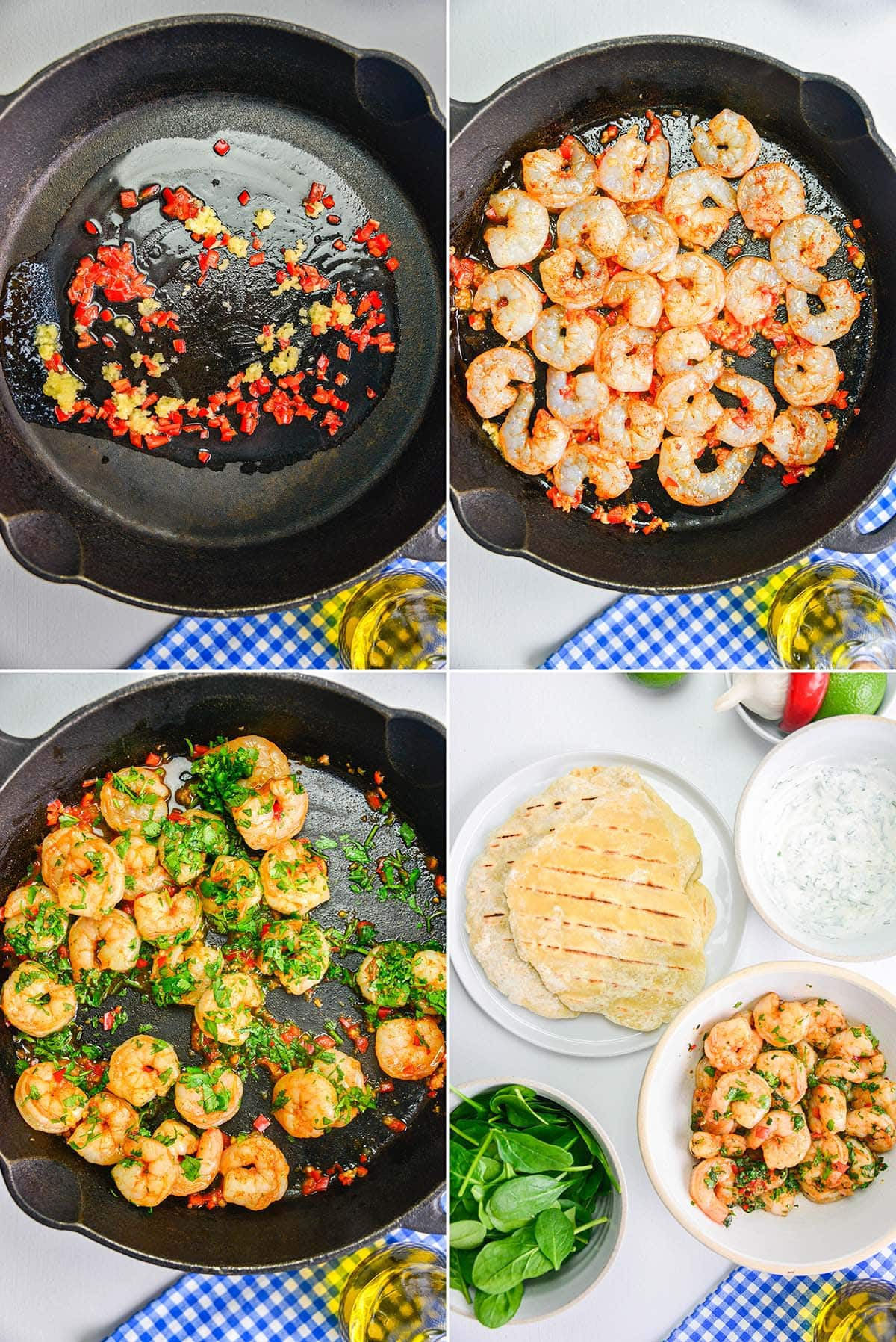 4 image collage showing how to make garlic chilli prawns to serve with flatbreads, spinach and yogurt dip