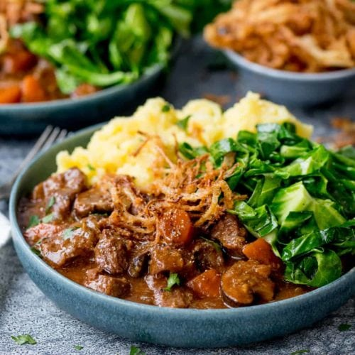 Beef and Guinness Stew with Crispy Onions
