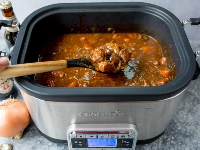 Crockpot filled with beef and Guinness stew