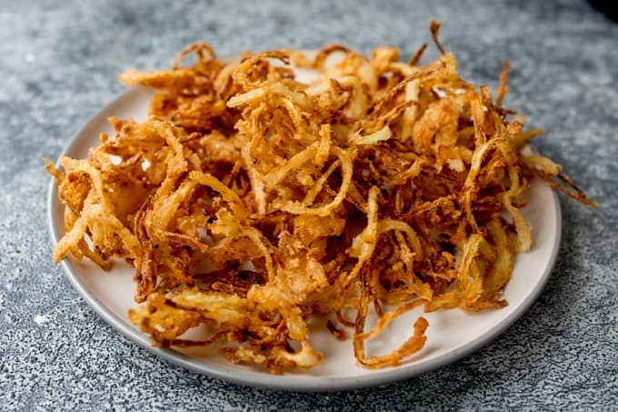 Plate of crispy fried onions