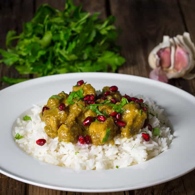 Persian Chicken - An impressive freezer recipe made with ground nuts and pomegranate molasses. Ready in 40 minutes.