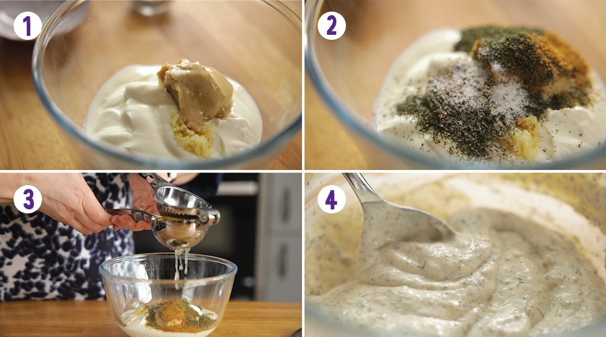 4 image collage showing how to make shawarma sauce