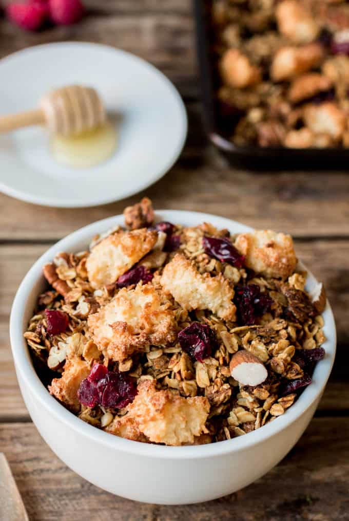 a white bowl full of Coconut Macaroon Granola