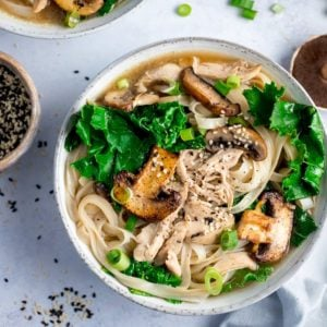 Bowl of chicken noodle soup with kale and mushrooms