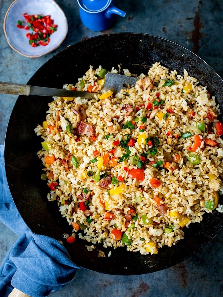 Overhead shot of fried rice in a wok