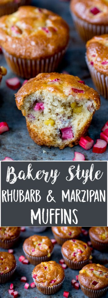 Two images with wording in between. Top image is of glazed muffin with rhubarb and marzipan chunks. Bite taken out of muffin. Further whole muffins in the background. Bottom image of tray of muffins with chopped rhubarb scattered around.