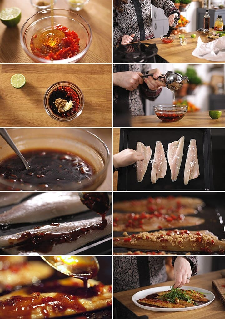 10 image collage showing how to make sticky Asian sea bass