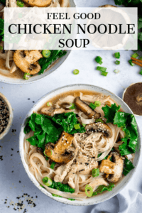 Bowl of chicken noodle soup with kale on a light background. Text overlay on the image