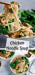 Two image collage of a bowl of chicken noodle soup