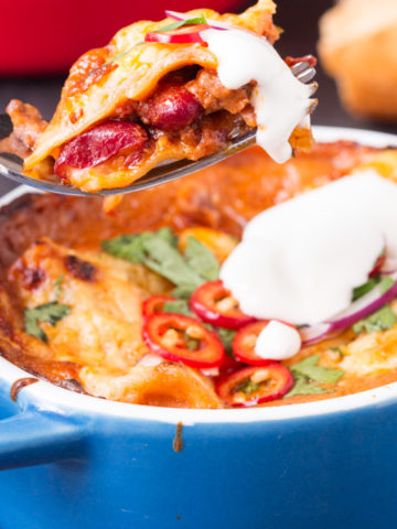 Chili Lasagna - Make a double batch of chili con carne so you can use the leftovers for this yummy meal.