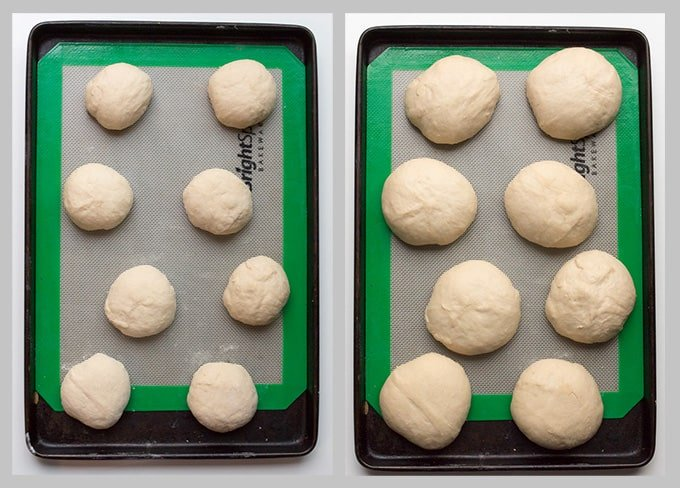 Brioche Dough in portions on a tray on the left and risen dough on a tray on the right