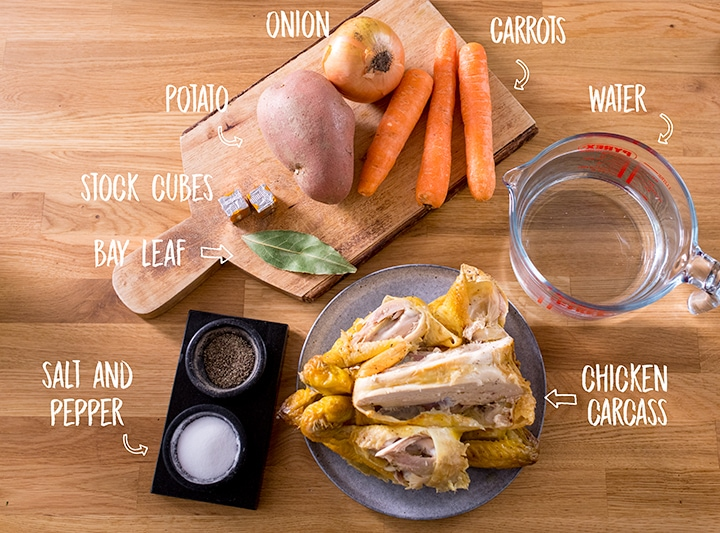 Ingredients for chicken soup on a wooden background