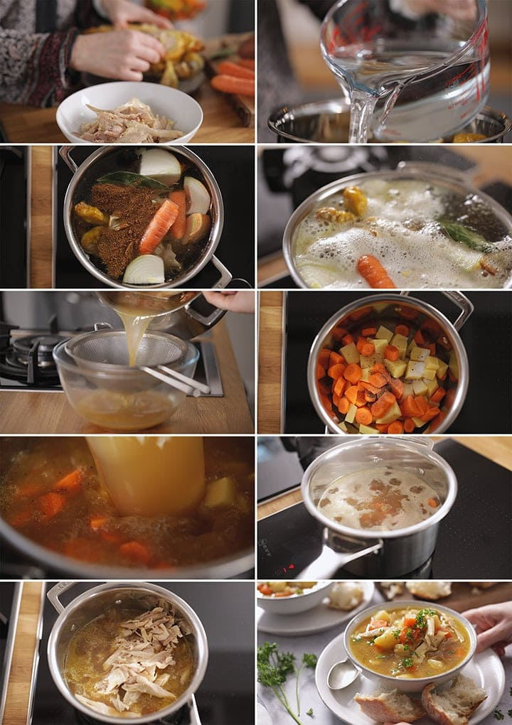 10 image collage showing how to make chicken and vegetable soup
