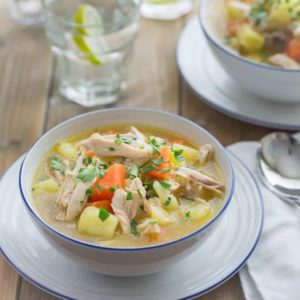 Chicken and Vegetable soup - I love to make this after a roast chicken dinner. Boiling up the bones makes the most delicious stock.