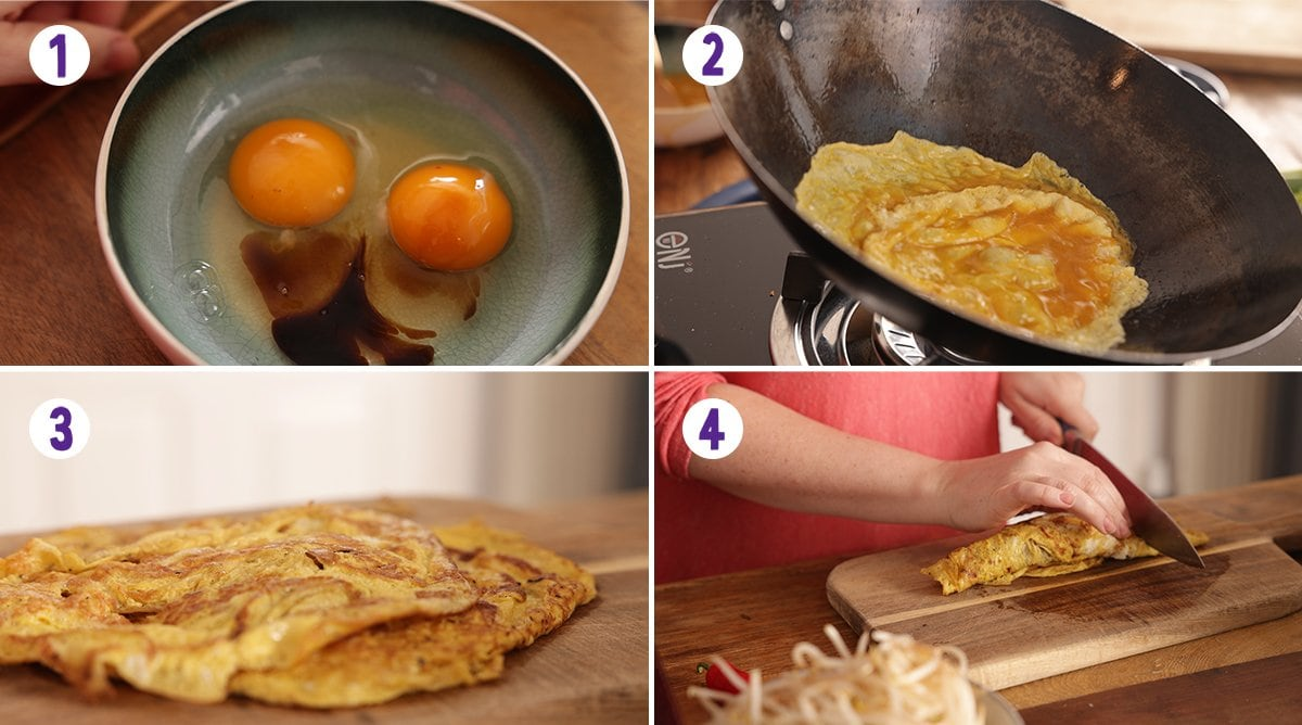 4 image collage showing how to make an omelette to top Mee Siam.
