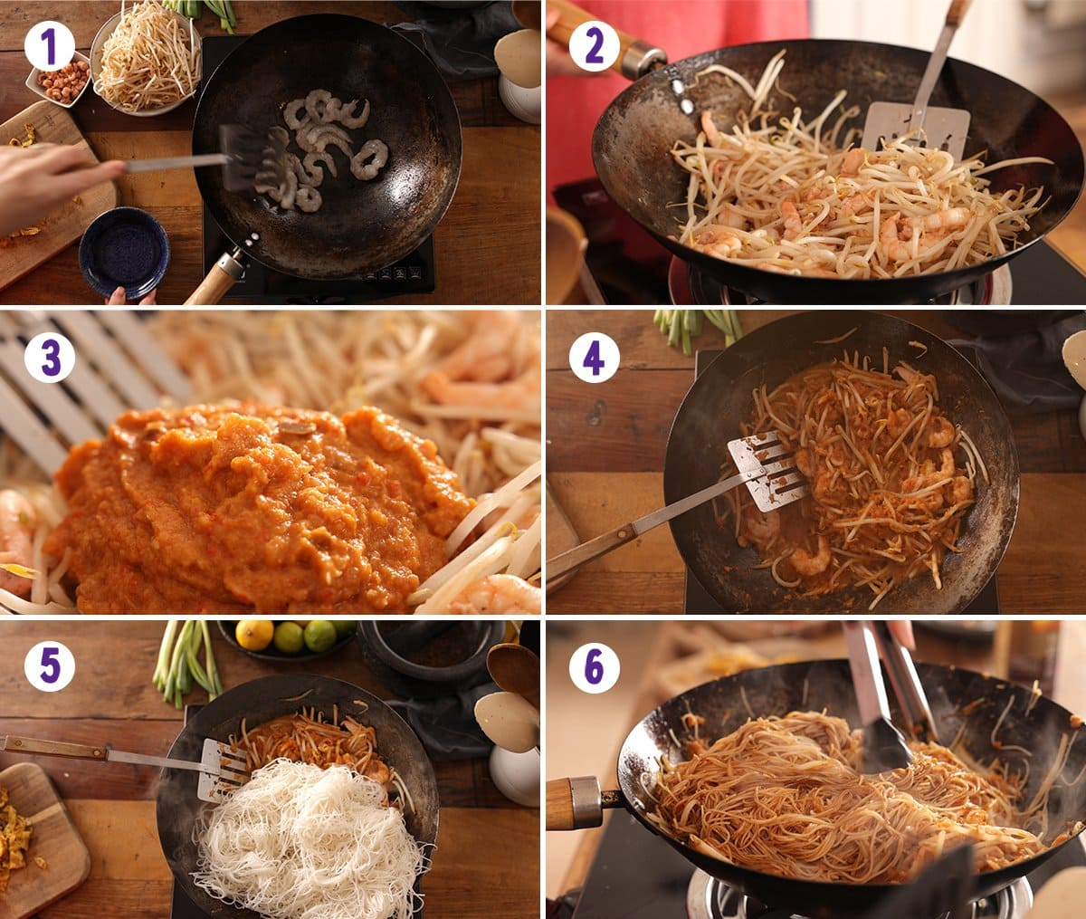6 image collage showing the process for making Mee Siam