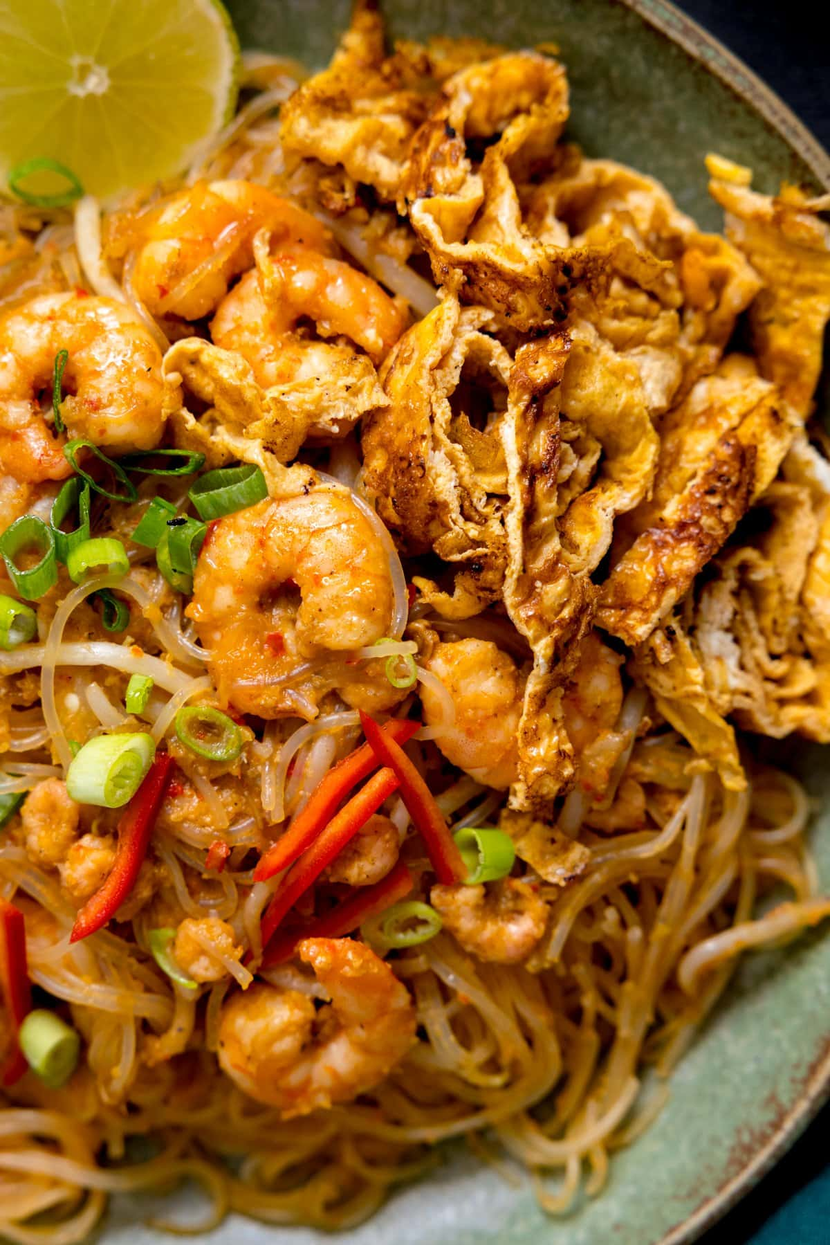 Close up overhead shot of Mee Siam fried noodles with prawns.