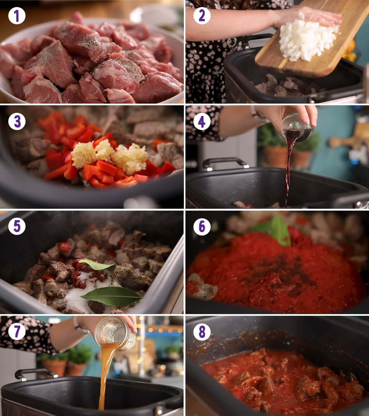 8 image collage showing how to make slow cooked pork ragu