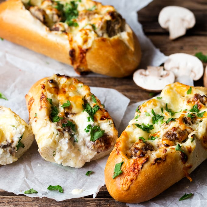Creamy Garlic & Mushroom Stuffed Bread | Homemade Stuffed Bread Recipes