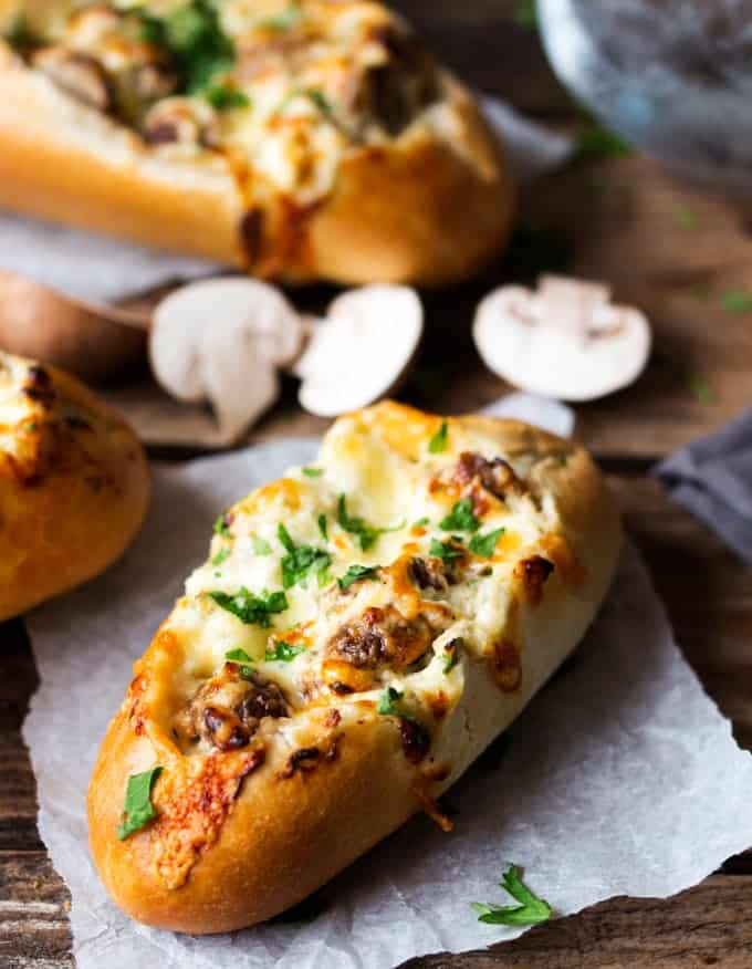 Creamy Garlic Mushroom Stuffed Bread Rolls Nicky S Kitchen Sanctuary