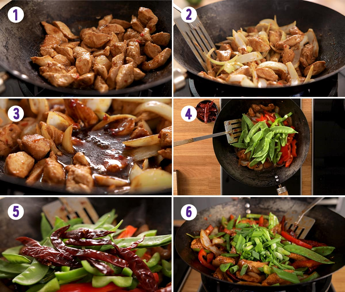 6 image collage showing final stages for making firecracker chicken stir fry