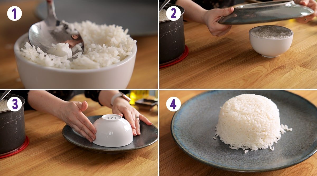 4 image collage showing how to make a mound of rice