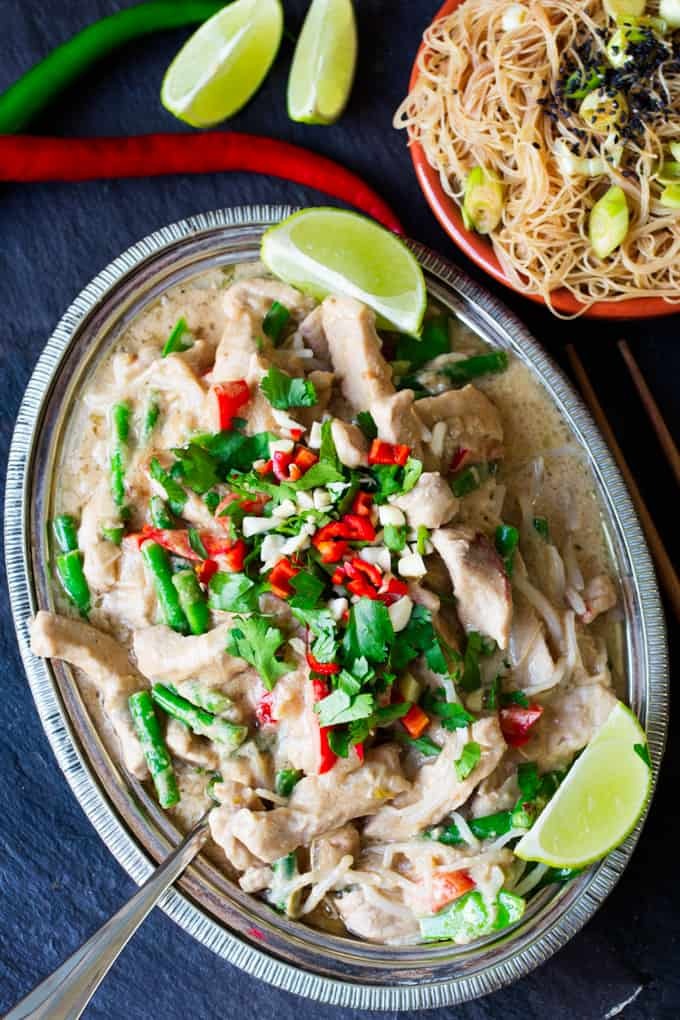 Peanut pork - Tender pork with lots of fresh veg, cooked in an easy, homemade Thai sauce.