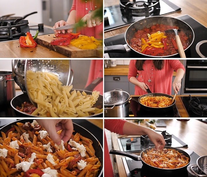 Collage of steps for making penne arrabiata - including adding sliced charred peppers, pasta and mozzarella to a pan.