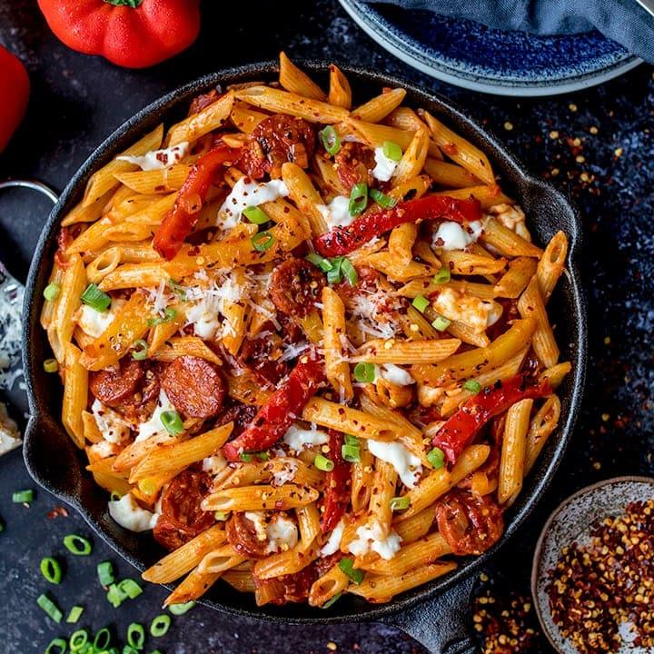 penne arrabiata with mozzarella and chorizo video