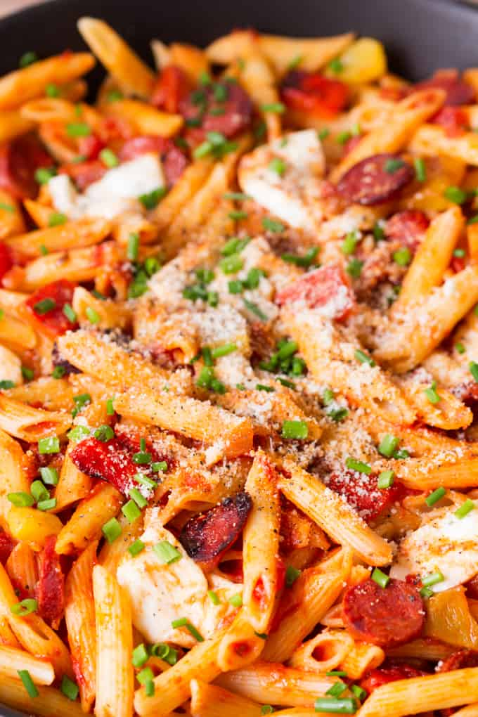 Penne Arrabiata with Mozzarella and Chorizo - a delicious twist on the classic!