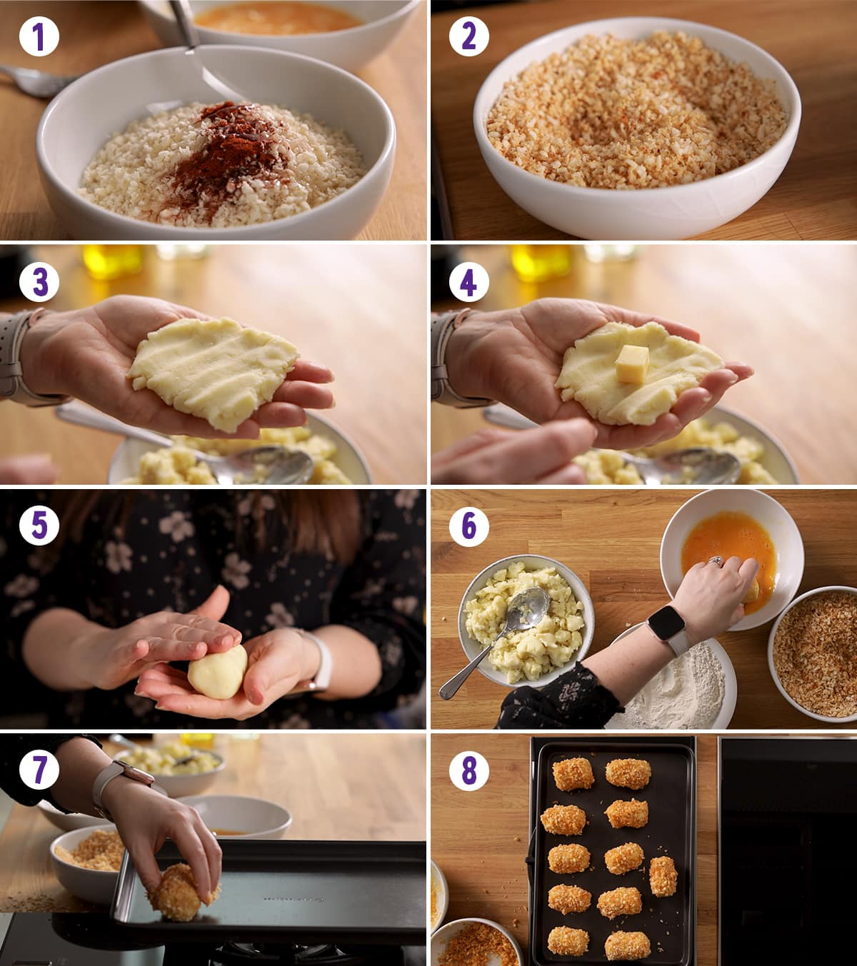 8 image collage showing how to make potato croquettes