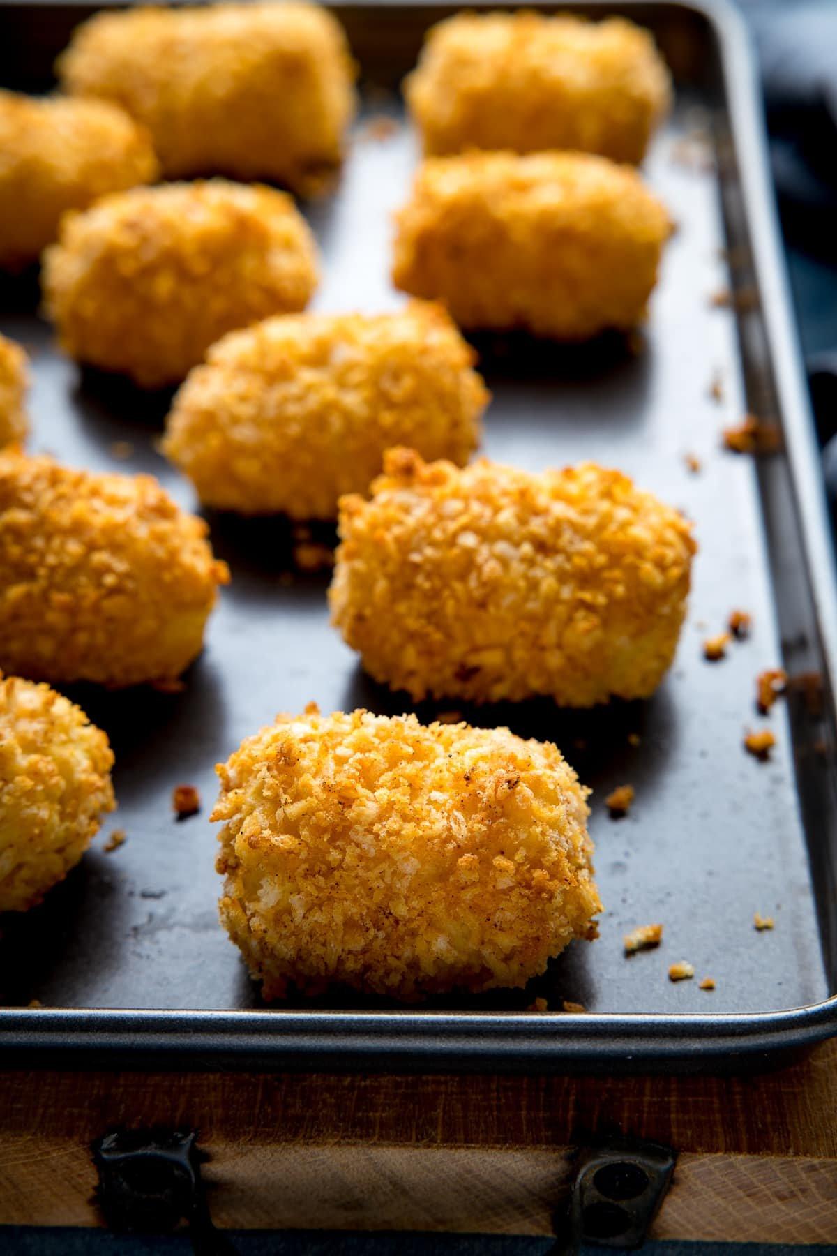 potato croquettes on a baking tray