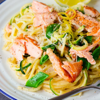 Pan Fried Salmon and Spaghetti with Lemon Cream Sauce