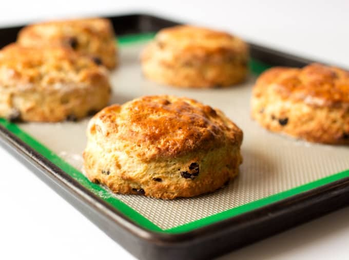 Light and fluffy buttermilk scones with raisins - so good served with clotted cream and jam!