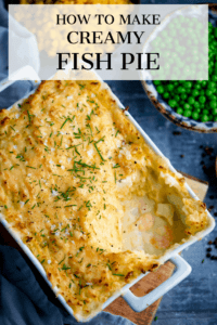 Fish pie with mashed potato with a text overlay