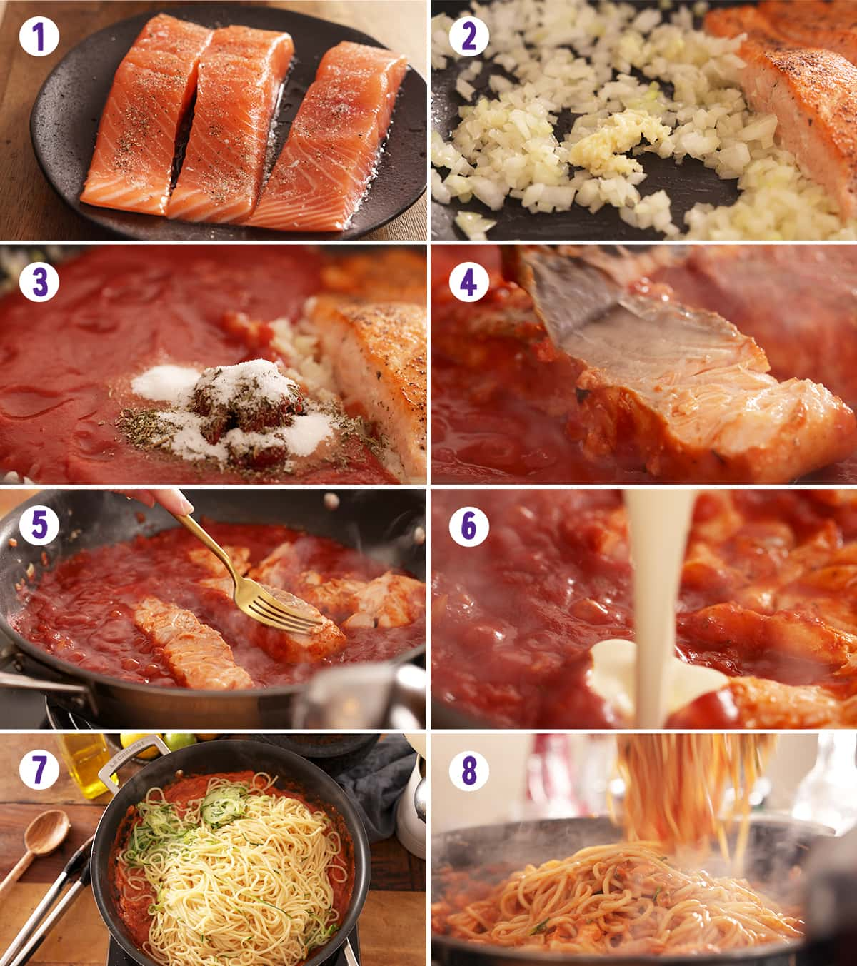 8 image collage showing how to make creamy tomato salmon and pasta.