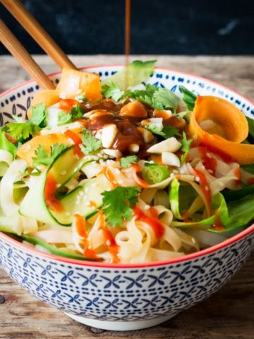 This simple noodle salad with spicy nut sauce makes a great meat-free lunch. Or serve it with Thai fishcakes for a delicious dinner.