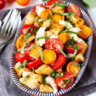 Panzanella Caprese with Garlicky Croutons