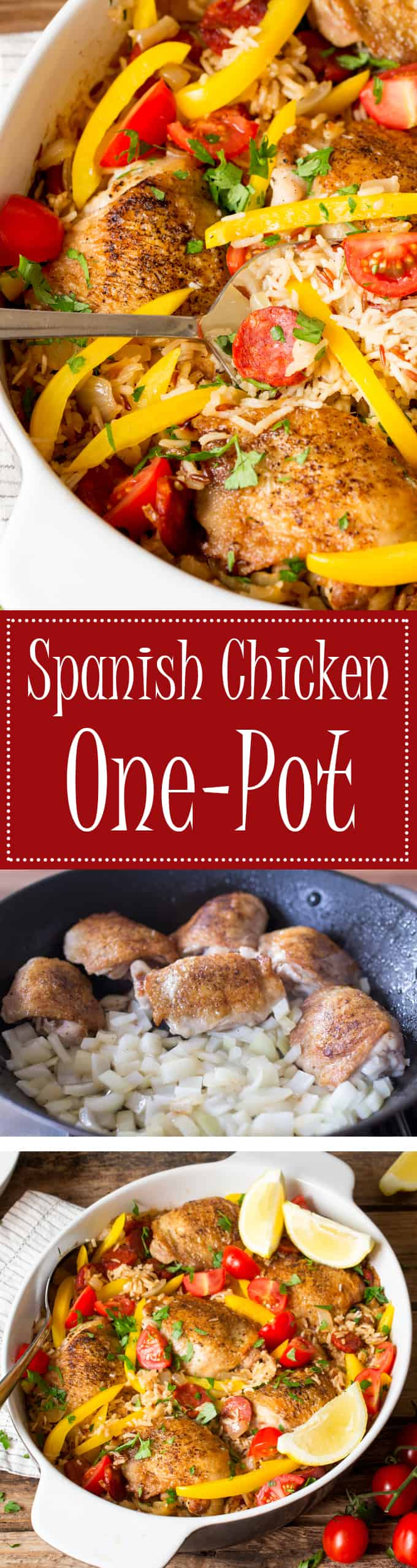 Spanish chicken one-pot with chorizo and peppers - let the oven do the hard work!