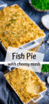 Two image collage of fish pie with mashed potato