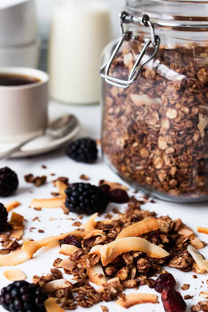 Chocolate coconut granola with cranberries on a white board