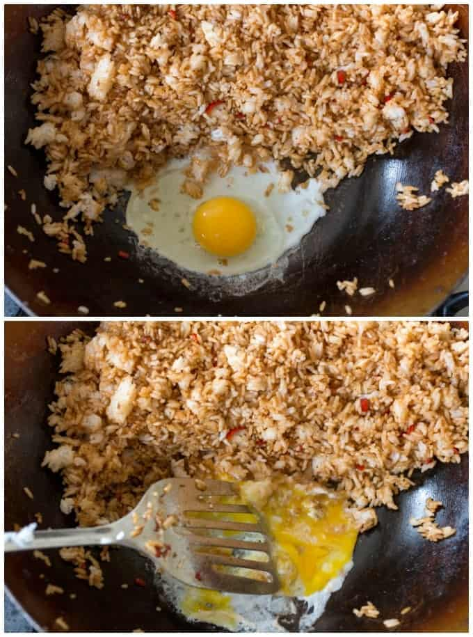 Egg going into Indonesian fried rice.