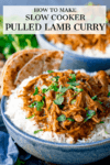Slow cooked pulled lamb curry with rice in a blue bowl