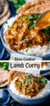 Two image collage of lamb curry in a blue bowl with rice