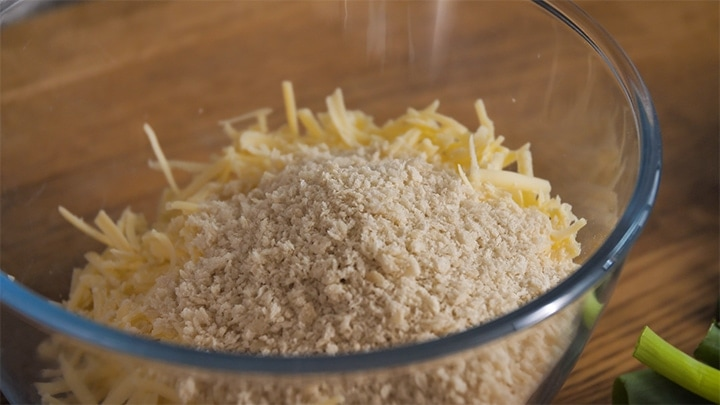 Cheese and breadcrumbs in a bowl