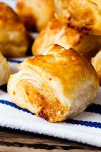 A simple pastry treat for vegetarians and meat-eaters alike. Really easy to make at the same time as meaty sausage rolls - to keep all your guests happy.