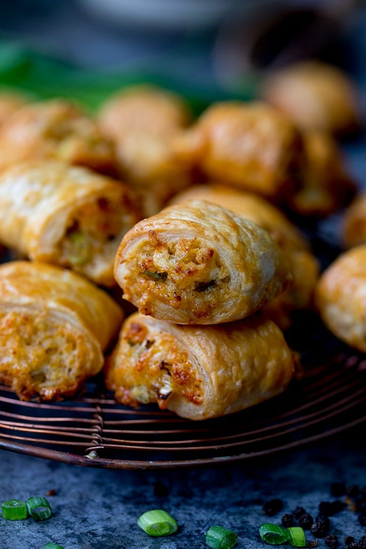 Vegetarian sausage rolls on a cooling rack