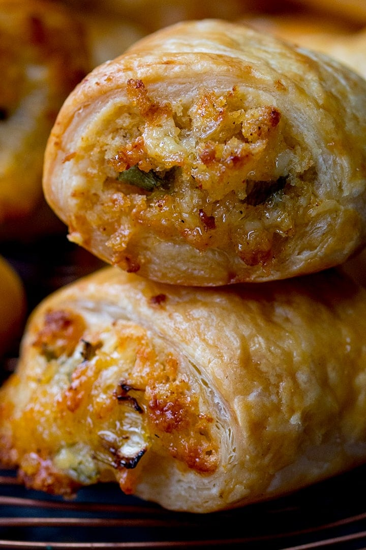 Close up of vegetarian sausage rolls